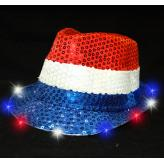 LIGHT UP FEDORA HAT-RWB